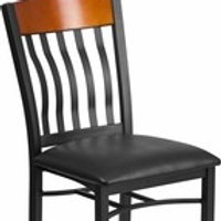 ECLIPSE SERIES VERTICAL BACK BLACK METAL/WOOD RESTAURANT CHAIR WITH VINYL SEAT
