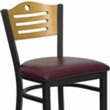 HERCULES SERIES BLACK SLAT BACK METAL BARSTOOL - NATURAL WOOD BACK, VINYL SEAT