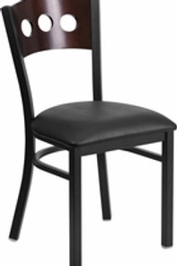 BLACK 3 CIRCLE BACK METAL RESTAURANT CHAIR WALNUT WOOD BACK VINYL SEAT