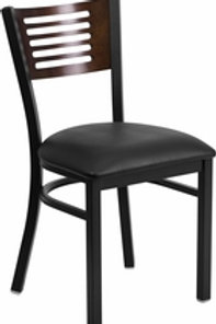 HERCULES SERIES BLACK SLAT BACK METAL CHAIR WALNUT BACK VINYL SEAT