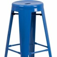 30'' HIGH BACKLESS ORANGE METAL INDOOR-OUTDOOR BARSTOOL WITH ROUND SEAT