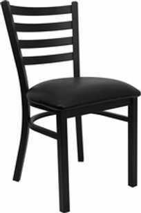 HERCULES SERIES BLACK LADDER BACK METAL RESTAURANT CHAIR VINYL SEAT