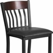 ECLIPSE SERIES VERTICAL BACK BLACK METAL & WOOD RESTAURANT BARSTOOL, VINYL SEAT