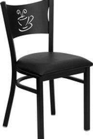 HERCULES SERIES BLACK COFFEE BACK METAL RESTAURANT CHAIR  VINYL SEAT