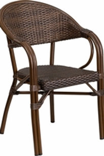 MILANO SERIES RATTAN RESTAURANT PATIO CHAIR WITH BAMBOO-ALUMINUM FRAME