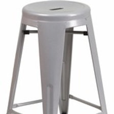 24'' HIGH BACKLESS METAL INDOOR-OUTDOOR COUNTER HEIGHT STOOL WITH ROUND SEAT