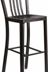 30'' HIGH BLACK-ANTIQUE GOLD METAL INDOOR-OUTDOOR BARSTOOL