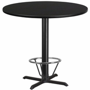 42'' ROUND LAMINATE TABLE TOP WITH 33'' X 33'' BAR HEIGHT TABLE BASE W/FOOT RING