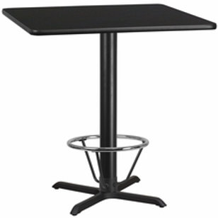 42'' SQUARE LAMINATE TABLE TOP WITH 33''X33'' BAR HEIGHT TABLE BASE W/FOOT RING