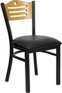 HERCULES SERIES BLACK SLAT BACK METAL RESTAURANT CHAIR NATURAL WOOD/VINYL SEAT