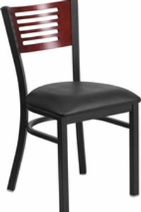 HERCULES SERIES BLACK SLAT BACK METAL RESTAURANT CHAIR WOOD BACK VINYL SEAT