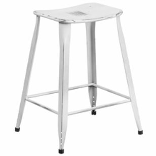 23.75'' HIGH DISTRESSED METAL INDOOR-OUTDOOR COUNTER HEIGHT SADDLE COMFORT STOOL