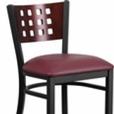 HERCULES SERIES BLACK CUTOUT BACK METAL BARSTOOL - MAHOGANY WOOD VINYL SEAT
