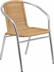 COMMERCIAL ALUMINUM AND RATTAN INDOOR-OUTDOOR RESTAURANT STACK CHAIR