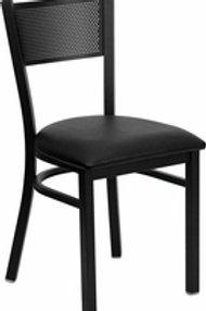 HERCULES SERIES BLACK GRID BACK METAL RESTAURANT CHAIR VINYL SEAT