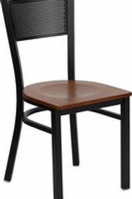 HERCULES SERIES BLACK GRID BACK METAL RESTAURANT CHAIR WOOD SEAT