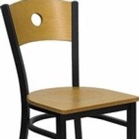 HERCULES SERIES BLACK CIRCLE BACK METAL CHAIR - NATURAL WOOD BACK & SEAT