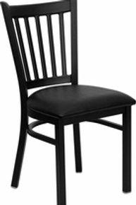 HERCULES SERIES BLACK VERTICAL BACK METAL RESTAURANT CHAIR VINYL SEAT