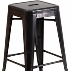 24'' HIGH BACKLESS BLACK-ANTIQUE GOLD METAL INDOOR-OUTDOOR COUNTER HEIGHT STOOL