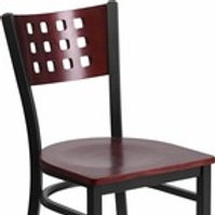 HERCULES SERIES BLACK CUTOUT BACK METAL RESTAURANT CHAIR - MAHOGANY WOOD
