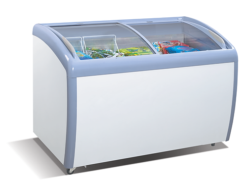 MMF-9109 Angle Curved Top Chest Freezer (Glass Arc Lid)