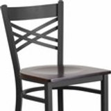 HERCULES SERIES BLACK ''X'' BACK METAL RESTAURANT BARSTOOL - WOOD SEAT