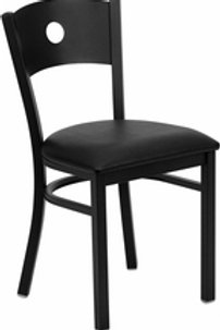 HERCULES SERIES BLACK CIRCLE BACK METAL RESTAURANT CHAIR VINYL SEAT