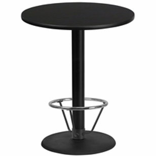 36'' ROUND LAMINATE TABLE TOP WITH 24'' ROUND BAR HEIGHT TABLE BASE W/FOOT RING
