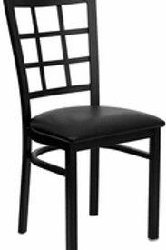HERCULES SERIES BLACK WINDOW BACK METAL RESTAURANT CHAIR VINYL SEAT