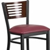HERCULES SERIES BLACK SLAT BACK METAL BARSTOOL - WALNUT WOOD VINYL SEAT