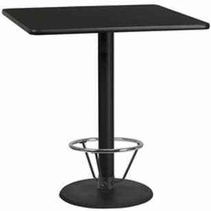42'' SQUARE LAMINATE TABLE TOP WITH 24'' ROUND BAR HEIGHT TABLE BASE w/ F