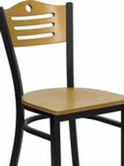 HERCULES SERIES BLACK SLAT BACK METAL RESTAURANT CHAIR - NATURAL WOOD BACK/SEAT