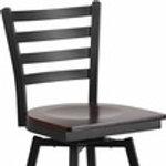 HERCULES SERIES BLACK LADDER BACK SWIVEL METAL BARSTOOL - WOOD SEAT