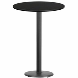 30'' ROUND LAMINATE TABLE TOP WITH 18'' ROUND BAR HEIGHT TABLE BASE