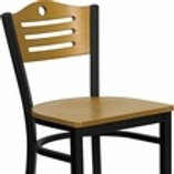 HERCULES SERIES BLACK SLAT BACK METAL RESTAURANT BARSTOOL - NATURAL WOOD