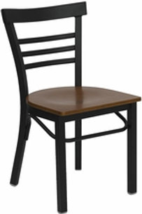 HERCULES SERIES BLACK LADDER BACK METAL RESTAURANT CHAIR WOOD SEAT