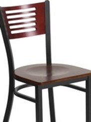 HERCULES SERIES BLACK SLAT BACK METAL RESTAURANT CHAIR - MAHOGANY WOOD BACK/SEAT