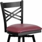 HERCULES SERIES BLACK ''X'' BACK SWIVEL METAL BARSTOOL - VINYL SEAT