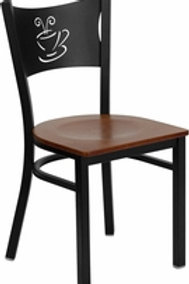 HERCULES SERIES BLACK COFFEE BACK METAL RESTAURANT CHAIR WOOD SEAT
