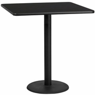 42'' SQUARE LAMINATE TABLE TOP WITH 24'' ROUND BAR HEIGHT TABLE BASE