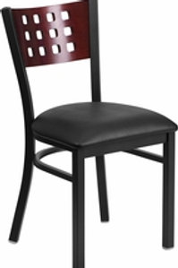 BLACK CUTOUT BACK METAL RESTAURANT CHAIR - MAHOGANY WOOD BACK, VINYL SEAT