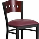 HERCULES SERIES BLACK 4 SQUARE BACK METAL BARSTOOL - MAHOGANY WOOD VINYL SEAT