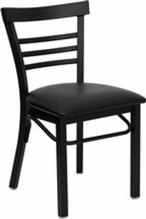 HERCULES SERIES BLACK LADDER BACK METAL RESTAURANT CHAIR VINYL SEAT