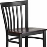 HERCULES SERIES BLACK SCHOOL HOUSE BACK METAL RESTAURANT BARSTOOL - WOOD SEAT