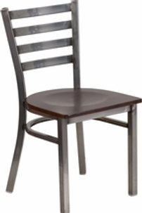 HERCULES SERIES CLEAR COATED LADDER BACK METAL RESTAURANT CHAIR  WOOD SEAT
