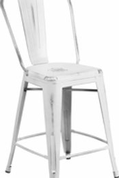 24'' HIGH DISTRESSED METAL INDOOR-OUTDOOR COUNTER HEIGHT STOOL WITH BACK