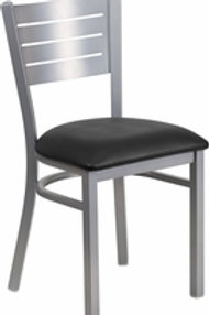 HERCULES SERIES SILVER SLAT BACK METAL RESTAURANT CHAIR VINYL SEAT