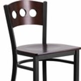 HERCULES SERIES BLACK 3 CIRCLE BACK METAL RESTAURANT BARSTOOL - WALNUT WOOD