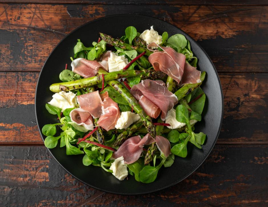 Grilled Asparagus, Buffalo Mozzarella cheese, parma ham salad, green vegetables
