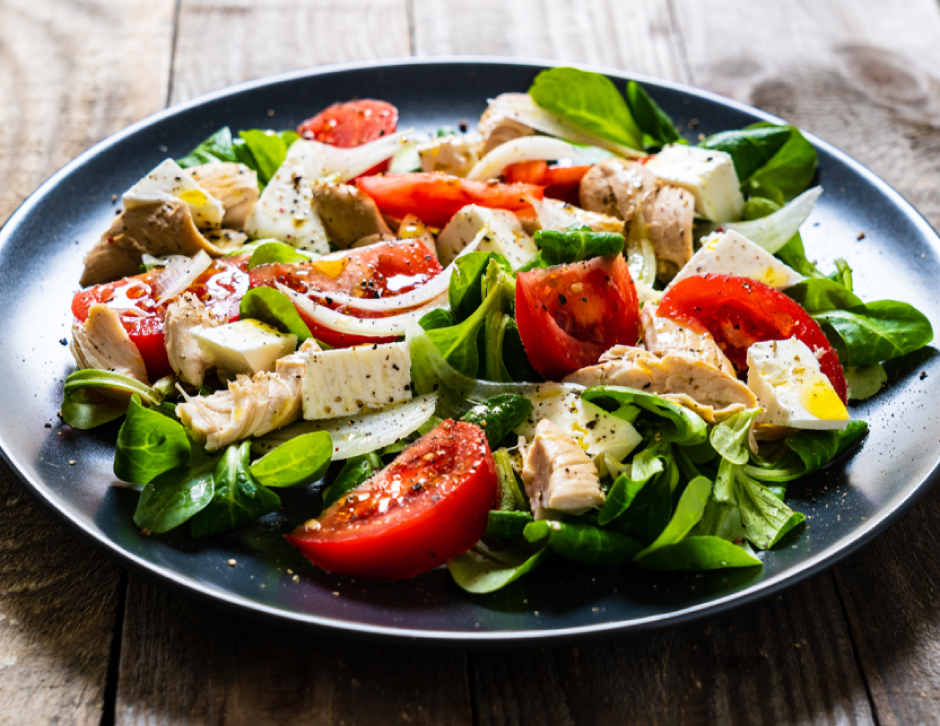 Caprese Salad, Buffalo Mozzarella, Pesto Chicken
